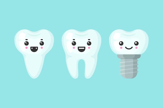 Niedliche zähne bunt eingestellt mit verschiedenen emotionen. unterschiedliche zahnform. karikaturzahn isolierte illustration.