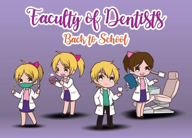 Niedliche zahnarztkarikatur, die zahnarztwerkzeuge hält.