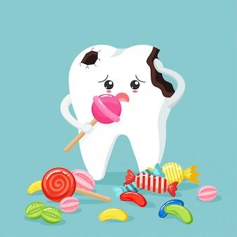 Niedliche zahnfiguren fühlen sich im flachen stil schlecht an. ungesunde zahnplakette und kariesloch mit bunten süßigkeiten.