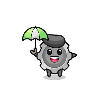 Niedliche zahnradillustration, die einen regenschirm hält, niedliches stildesign für t-shirt, aufkleber, logoelement