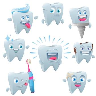 Niedliche zahnzeichensatzpflege