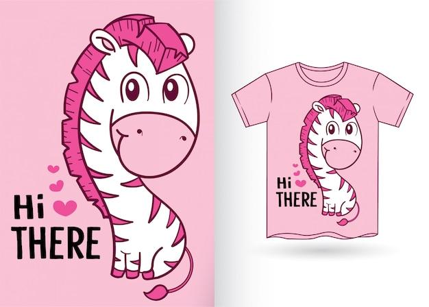 Niedliche zebra-karikatur für t-shirt