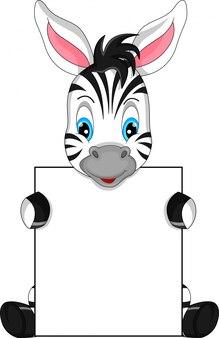 Niedliche zebra-karikatur und leeres zeichen