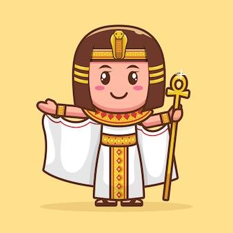 Niedliche zeichentrickfigur der göttin cleopatra
