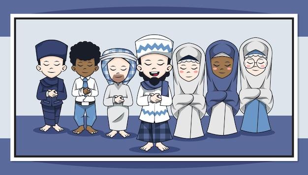 Niedliche zeichentrickfigur der muslime beten in der gemeinde
