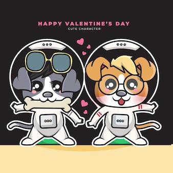 Niedliche zeichentrickfigur des astronautenhundes des paares und des glücklichen valentinstags