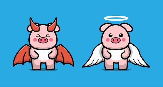 Niedliche zeichentrickfigur des paares teufelsschwein und engelsschwein