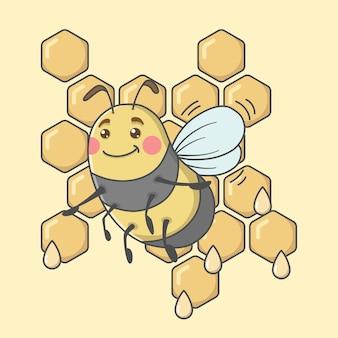 Niedliche zeichentrickfigur mit honigwabe