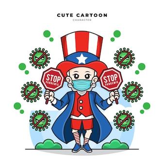 Niedliche zeichentrickfigur von onkel sam, die maske webt und stopp-pandemie covid19 zeichen hält