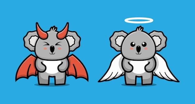 Niedliche zeichentrickfigur von paar teufel koala und engel koala