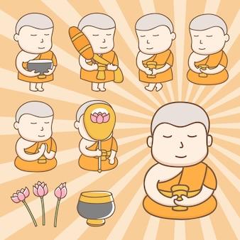 Niedliche zeichentrickfilm-figuren des buddhistischen mönchs in der aktion von alltagsaktivitäten