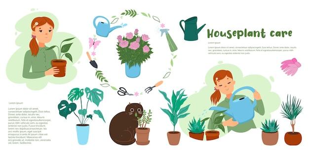 Niedliche zimmerpflanzenpflege-infografiken mit katze und mädchen