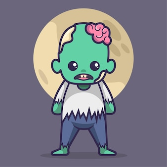 Niedliche zombie-halloween-kostüm-vektor-illustration