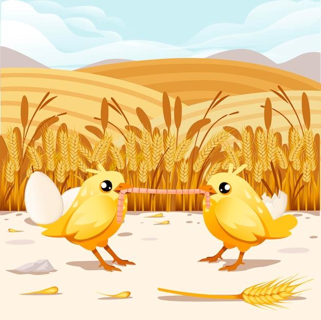 Niedliche zwei kleine küken, die auf weizenfeld-cartoon-charakter-design flache vektorgrafik mit weizenohren auf ländlicher szenelandschaft des hintergrundes mit hügeln stehen und essen.