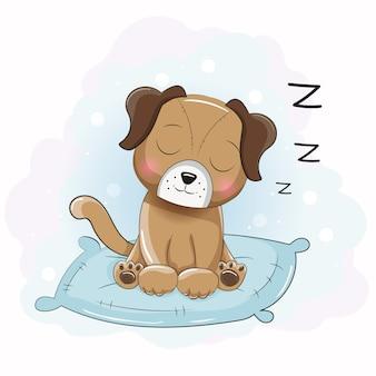 Niedlichen cartoon schlafenden welpen auf dem kissen