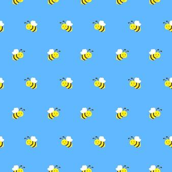 Niedlichen fliegenden biene nahtlose muster vektor