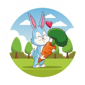 Niedlichen kaninchen-cartoon