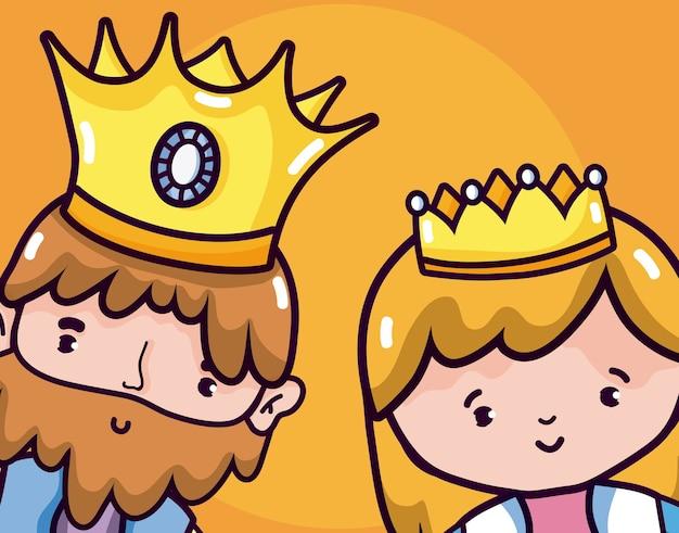 Niedlichen könig und königin cartoons