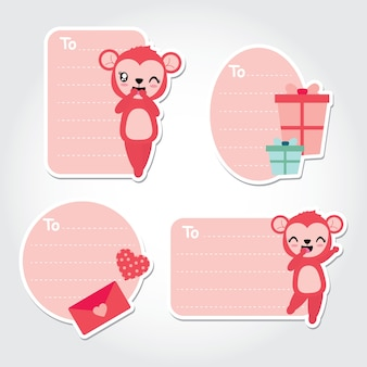 Niedlicher affe, liebesbrief und geschenkboxen