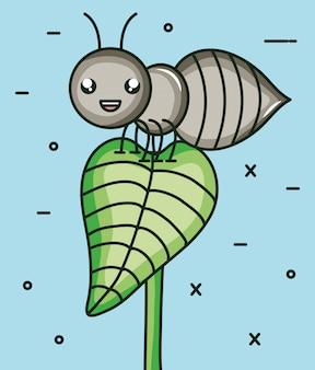 Niedlicher ameiseninsekt kawaii charakter