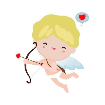 Niedlicher amor, der einen hölzernen bogencharakter im glücklichen valentinstag hält