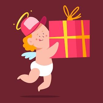 Niedlicher amor lieferung mit geschenkbox valentinstag illustration lokalisiert auf hintergrund.