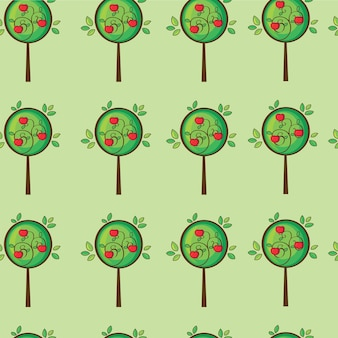 Niedlicher apfelbaum des nahtlosen musters im vektor
