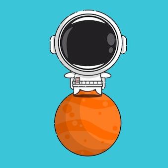 Niedlicher astronaut auf mars isoliert auf blau