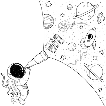 Niedlicher astronaut cartoon