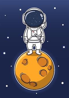 Niedlicher astronaut, der auf dem mond steht