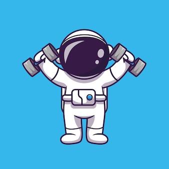 Niedlicher astronaut, der hantel-karikatur-symbol-illustration anhebt. wissenschaftssport-symbol-konzept isoliert. flacher cartoon-stil