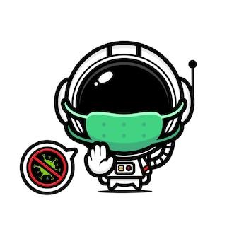 Niedlicher astronaut, der maske mit stop-virus-pose trägt