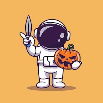 Niedlicher astronaut, der messer und kürbis-cartoon-vektor-illustration hält.