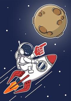 Niedlicher astronaut, der rakete zum mond reitet und fan-gummihandschuh trägt