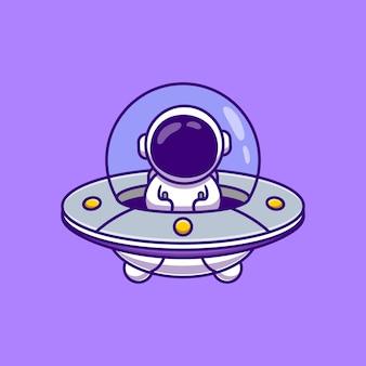 Niedlicher astronaut, der raumschiff ufo cartoon vector illustration fährt.