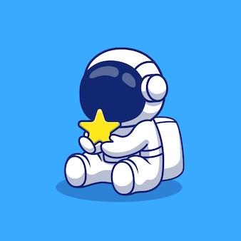 Niedlicher astronaut, der sternkarikaturillustration hält. raumikonen-konzept