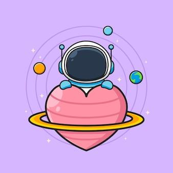Niedlicher astronaut mit herzförmigem planeten