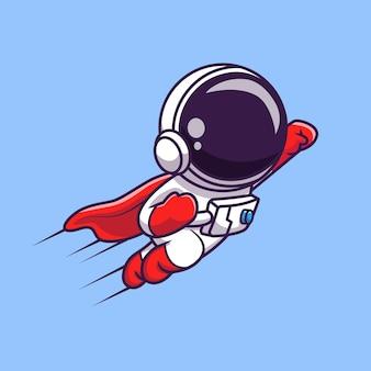 Niedlicher astronaut-superheld, der cartoon-vektor-symbol-illustration fliegt. science technology icon