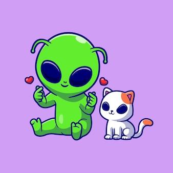 Niedlicher ausländer mit niedlicher katze alien cartoon vektor icon illustration. tier natur symbol konzept isoliert premium-vektor. flacher cartoon-stil