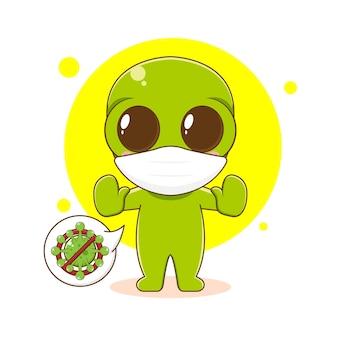 Niedlicher außerirdischer charakter mit maske, die gegen virus kämpft