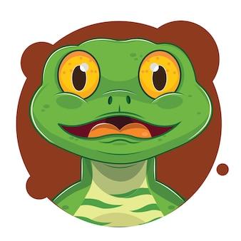 Niedlicher avatar der grünen eidechse