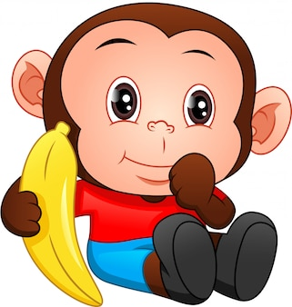 Niedlicher baby-affen-cartoon, der banane hält