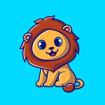 Niedlicher baby-löwe, der cartoon-illustration sitzt