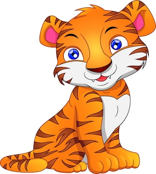 Niedlicher baby-tiger-cartoon auf einem weißen