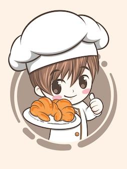 Niedlicher bäckereikochjunge, der croissantbrot hält - zeichentrickfigur und logoillustration