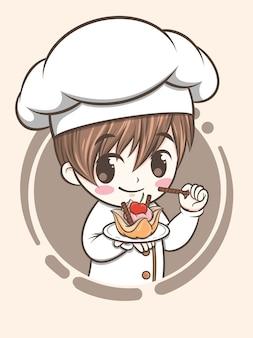 Niedlicher bäckereikochjunge, der einen kuchen hält - zeichentrickfigur und logoillustration