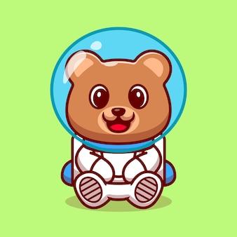 Niedlicher bär astronaut cartoon illustration. Kostenlosen Vektoren