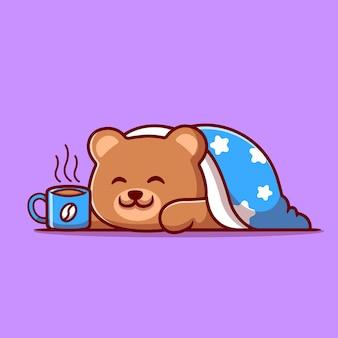Niedlicher bär, der decke mit heißer kaffeetasse-karikaturillustration trägt.