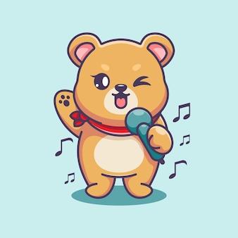 Niedlicher bär singt cartoon-design