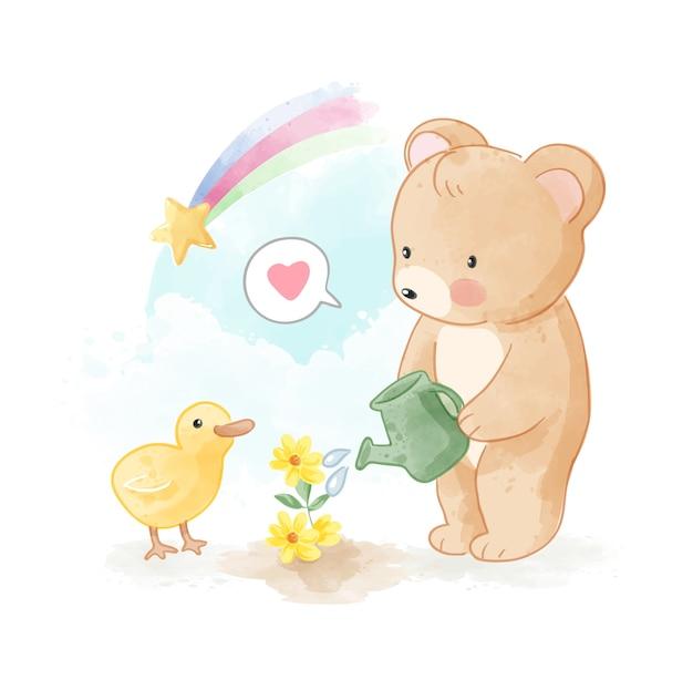 Niedlicher bär und kleine ente, die kleine blumen-illustration gießen